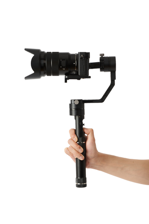 3-axis gimbals Stabilization System with Mirrorless Camera. Using this equipment, a Videographer can take video without shaking.