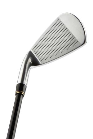 ゴルフ クラブ アイアン 7 番頭のクローズ アップは、白で隔離。