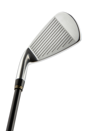 Close-up of Golf club iron no.7 head, isolated on white. Фото со стока