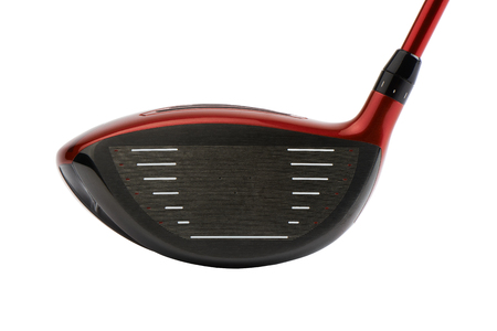 Close-up of face of Golf club, driver head, isolated on white.