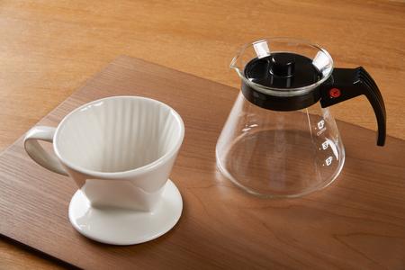 ceramic hand drip coffee brewer (dripper) and glass server (carafe)