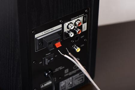 closeup of speaker output terminal on the back of bookshelf speaker
