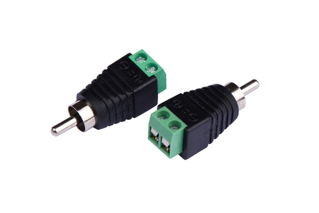 An adapter that converts the terminal for speaker wire into an RCA type