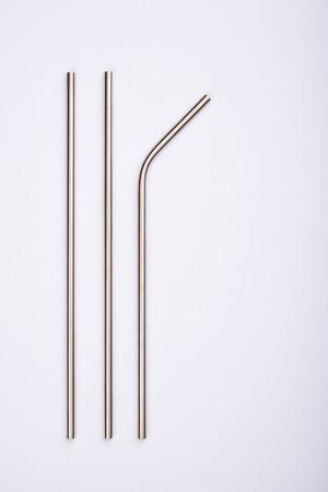Pailles en acier inoxydable réutilisables, isolated on white Banque d'images - 108114988