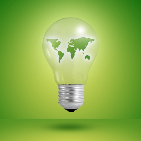 go inside: eco concept  light bulbs with map of world inside