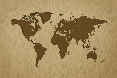 worldmap: world-map carving on wood texture