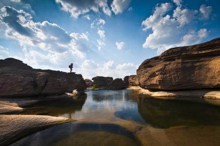 chasm: Sampanbok (3000 Hole), The Amazing of Rock in Mekong River, Ubonratchathani Thailand. Stock Photo