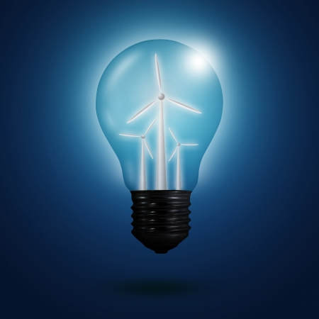 wind energy concept : light bulbs with wind turbine inside on blue background photo