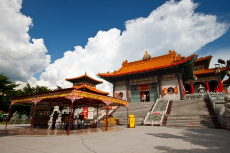 chinese temple: Old Chinese temple with blue sky in Bangkok, Thailand  Editorial