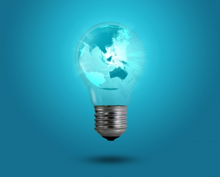 eco concept  light bulbs with map of world inside