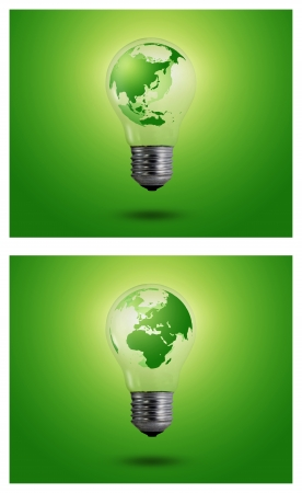 ecological problem: eco concept  light bulbs with map of world inside, Asian, Africa