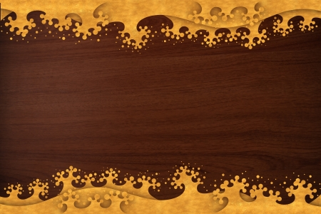 Pattern thai carve wave gold on old wood texture photo
