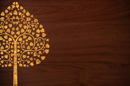 thai painting: Pattern thai carve tree gold on old wood texture