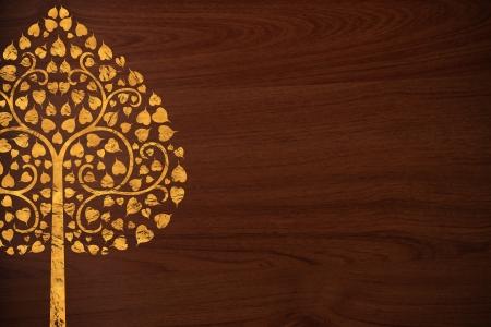 thai style: Pattern thai carve tree gold on old wood texture