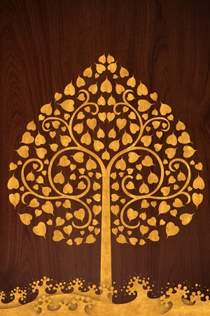 Pattern thai carve wave and tree gold on old wood texture photo