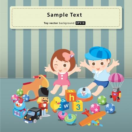 juguetes antiguos: ni�os con los juguetes de vectores