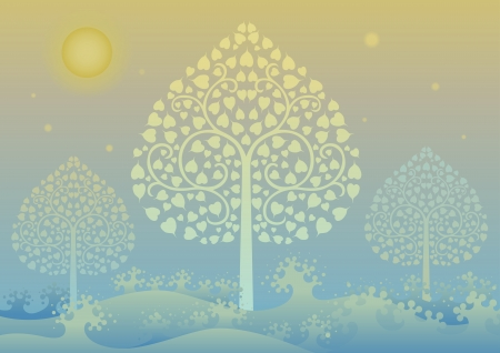 asian art: Colorful editable vector illustration of Gold tree and thai pattern style