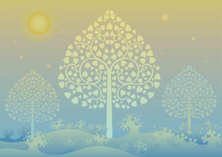 thai: Colorful illustrazione vettoriale modificabile di un albero d'oro e modello di stile thai