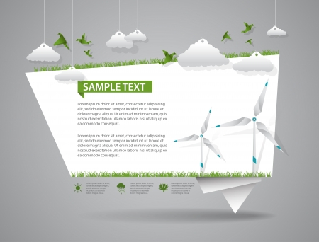 green eco: Eco friendly green origami template