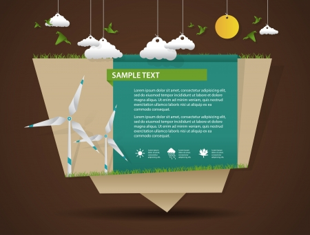 origami bird: Eco friendly and green energy origami template