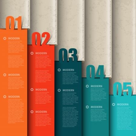 web pages: Vector paper numbered and leather banners Design template