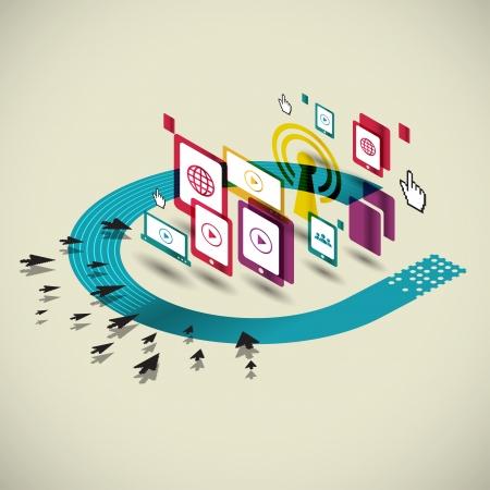 trabajo social: Concepto social de los medios de comunicaci�n, la comunicaci�n iconos ilustraci�n vectorial Vectores