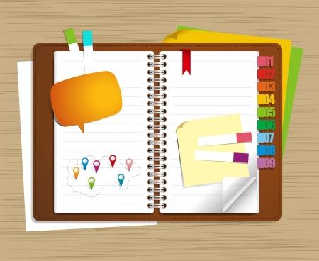 terminplaner: Vector pers�nliche Organizer-Funktionen auf Holz Hintergrund