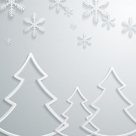 Abstract 3D copos de nieve y árbol de navidad Diseño Foto de archivo - 22303052