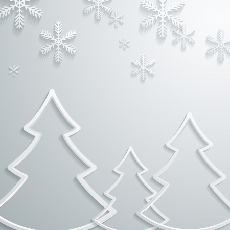Abstract 3D Snowflakes and christmas tree Design  Vector