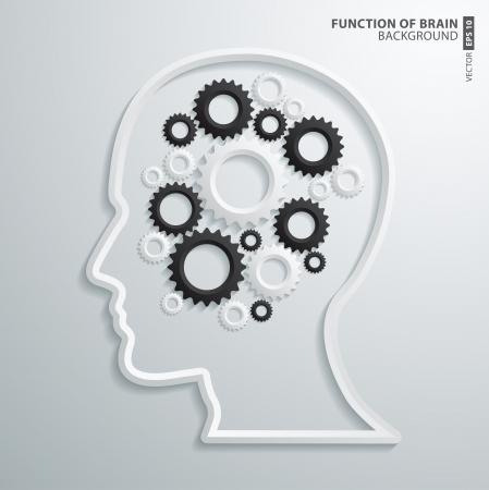 function: Abstract 3D intelligence brain function Design Illustration