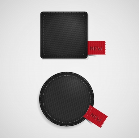 vector fabric: Black vector fabric badges with red ribbons  Illustration