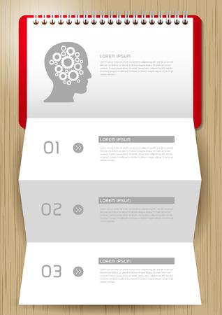 pensamiento creativo: Paso para el pensamiento positivo con papel, Creative doblado de papel moderna plantilla de diseño ilustración vectorial