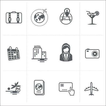 appointment book: Travel and Vacation Icons set  Illustration