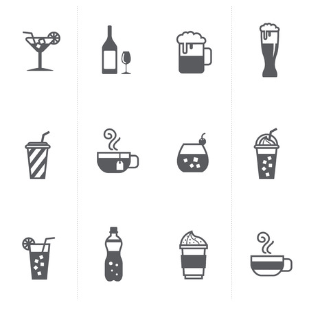 fruit drink: beverage and beer icons set