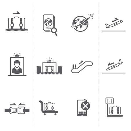 boarding card: airport sign, airport icons set