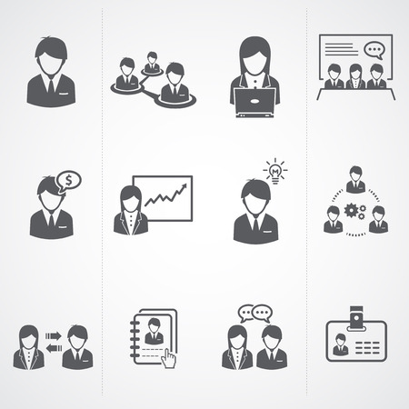 Management and Human Resource businessman Icons Stock Vector - 22969552