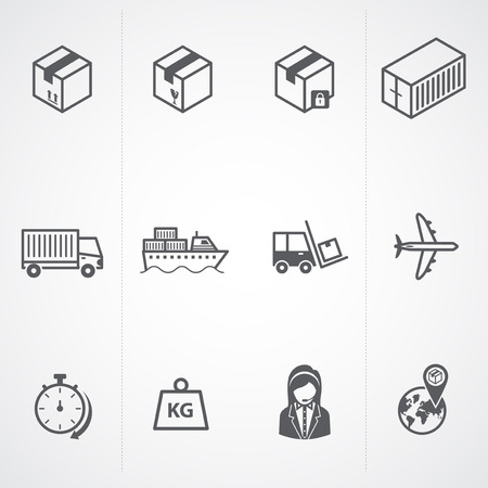 Logistic   delivery   shipping and cargo icons  Vector illustration  Vector