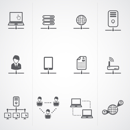 network switch: Network and Network connections icons set