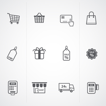 supermarket services, Shopping Icons set   Vector