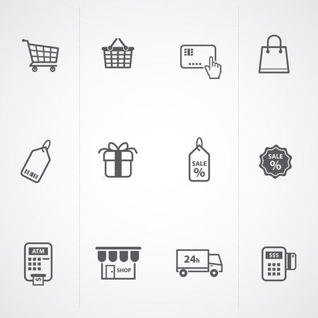 cash dispense: supermarket services, Shopping Icons set