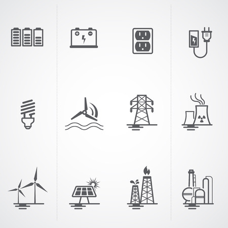 hydroelectric: Energy, electricity, power icons set   Illustration