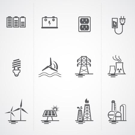 Nergie, l'électricité, les icônes de puissance fixés Banque d'images - 22969556