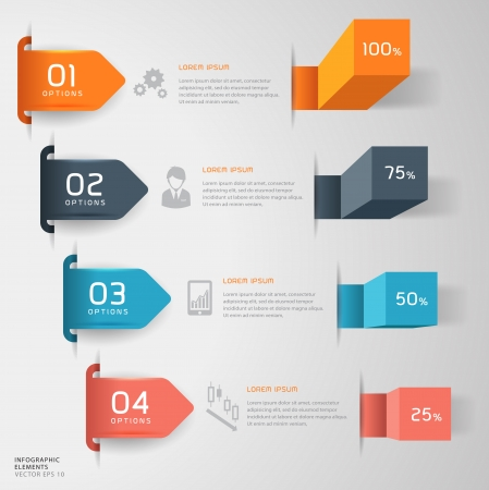 Modern business steps to success charts and graphs options banner  Vector illustration modern design template  can be used for number options, step up options, web design, infographics