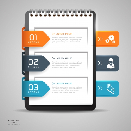 notebook: Modern Design button creative with notebook paper, With icons vector illustration template design