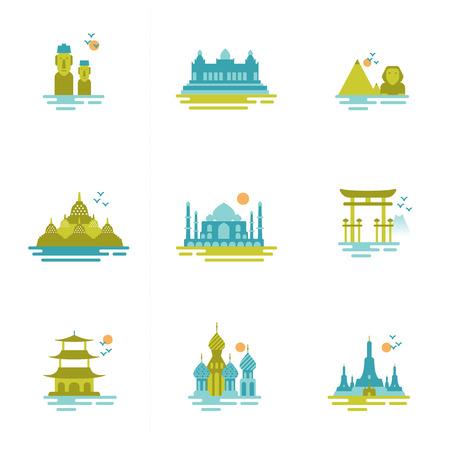 indonesien: Reihe von Icons zum Thema Reise Gruppe von international bekannten Wahrzeichen