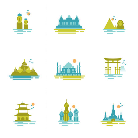the temple: set of icons on the topic of travel  Group of famous international landmarks