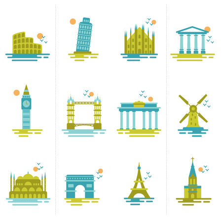 set of icons on the topic of travel  Group of famous international landmarks   Vector