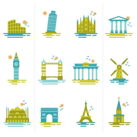 set van pictogrammen op het thema van de reis Groep van beroemde internationale oriëntatiepunten