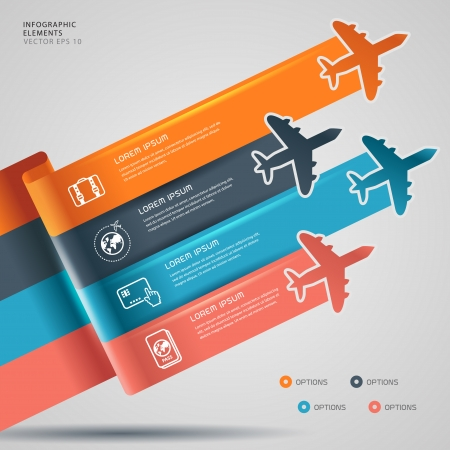 Background with colorful airplanes travel infographic  Vector illustration