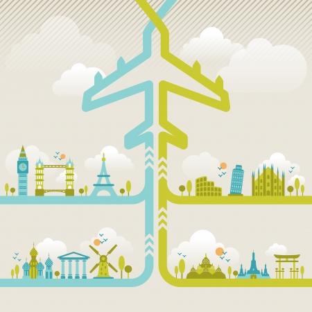 旅行や有名なランドマークのインフォ グラフィック要素